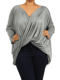 Plus Size Hot Criss Cross Grey Top
