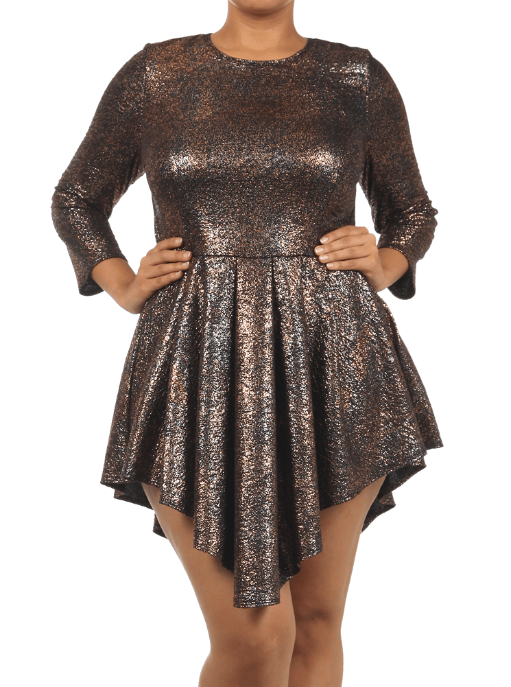 Plus Size Shine Bright Copper Glitter Skater Dress