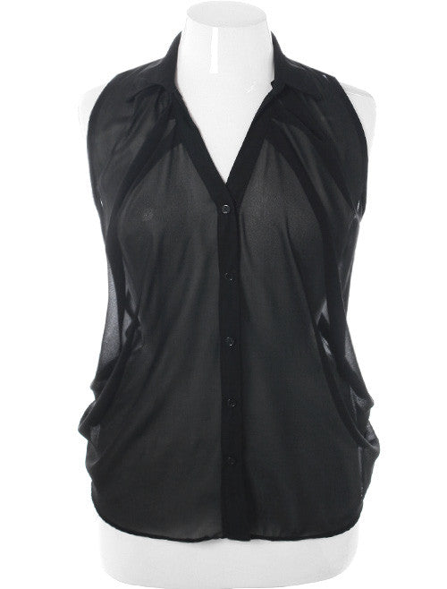 Plus Size Sexy Shear Pleated Black Button Up