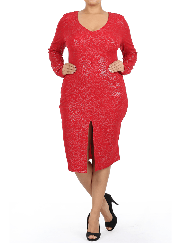 Plus Size Elegant Long Sleeve Foil Print Red Dress