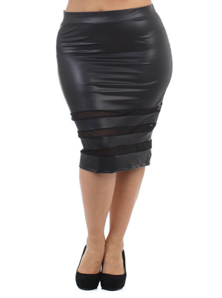 Plus Size Leather Mesh Panels Black Skirt