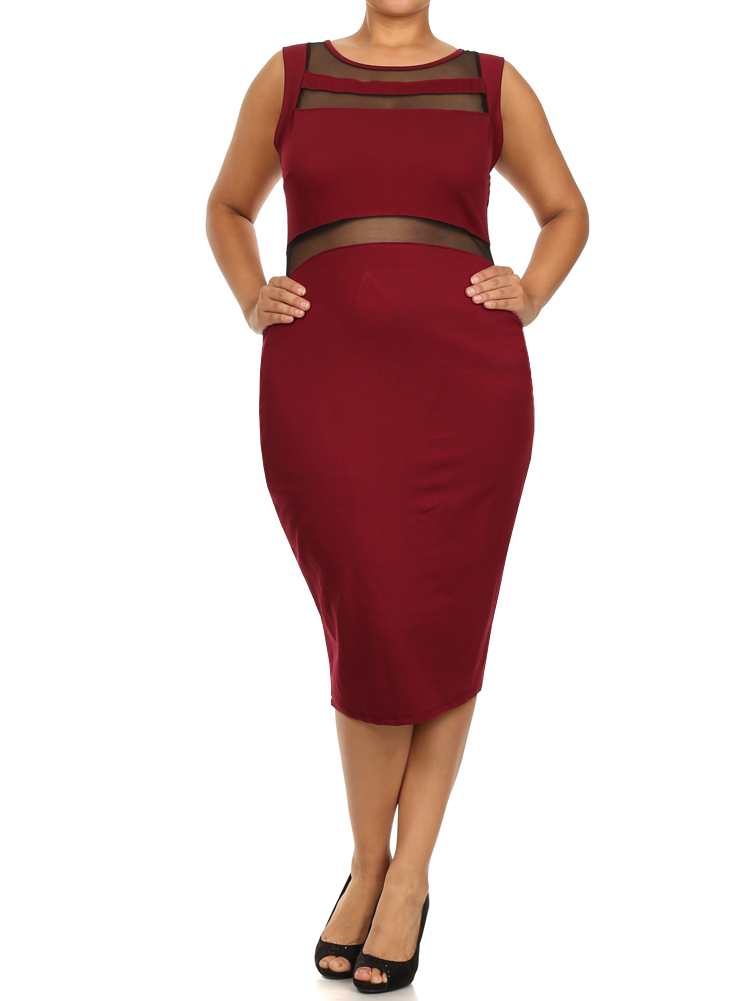 Plus Size Seductive Scuba Mesh Midi Burgundy Dress
