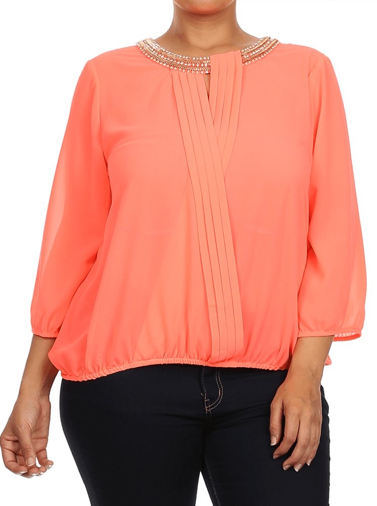 Plus Size Embellished Cross Over Sheer Neon Coral Top