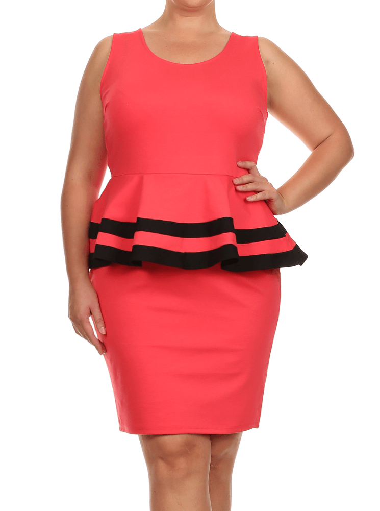 Plus Size Lovely Colorblock Peplum Coral Dress