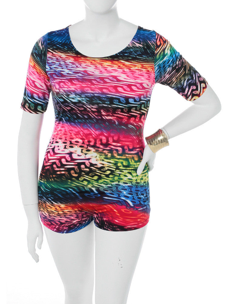Plus Size Colorful City Lights Zip Up Romper