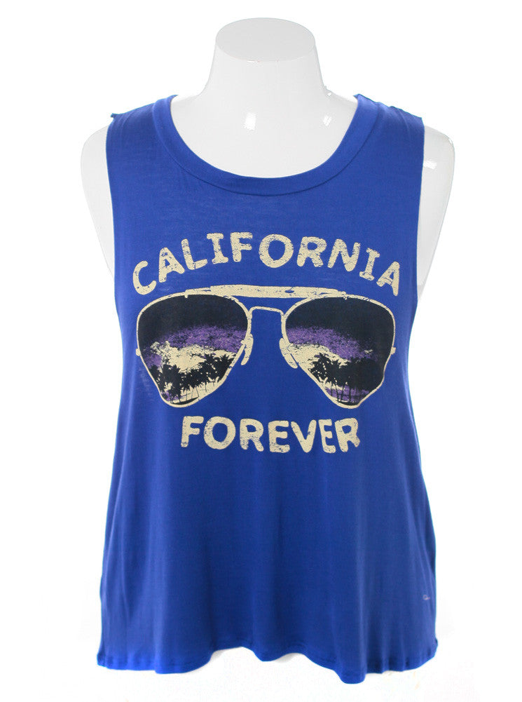 Plus Size California Forever Blue Tank Top
