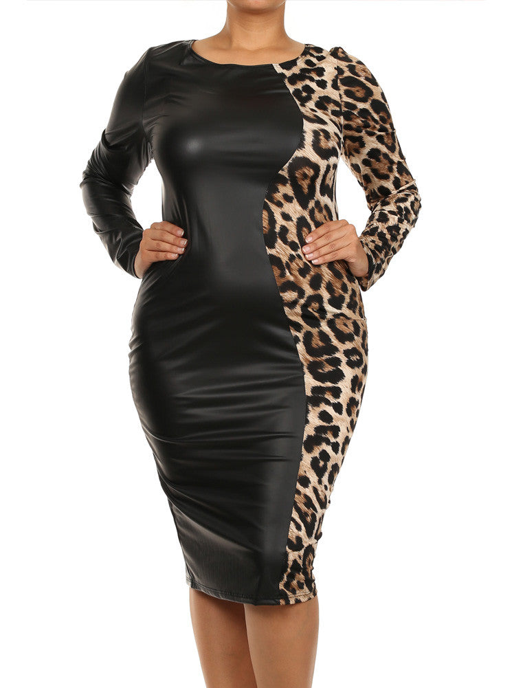 Plus Size Split Leather Leopard Print Tan Midi Dress