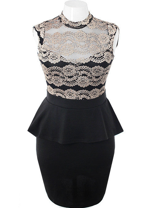 Plus Size Peplum See Through Lace Gold Cocktail Dress