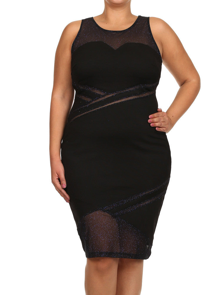 Plus Size Sweetheart Glitter Mesh Blue Midi Dress