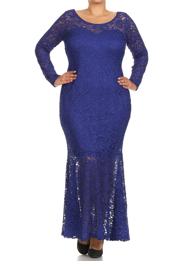 Plus Size Dazzling Lace Mermaid Maxi Blue Dress