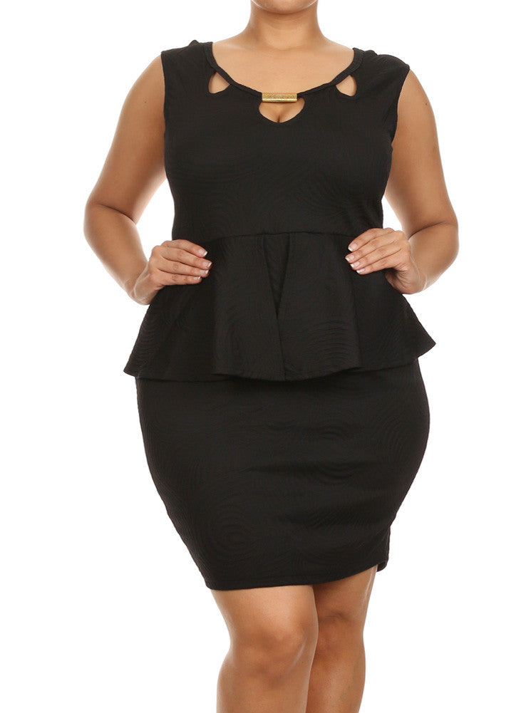 Plus 89-Size Glamorous Wave Pattern Peplum Black Dress