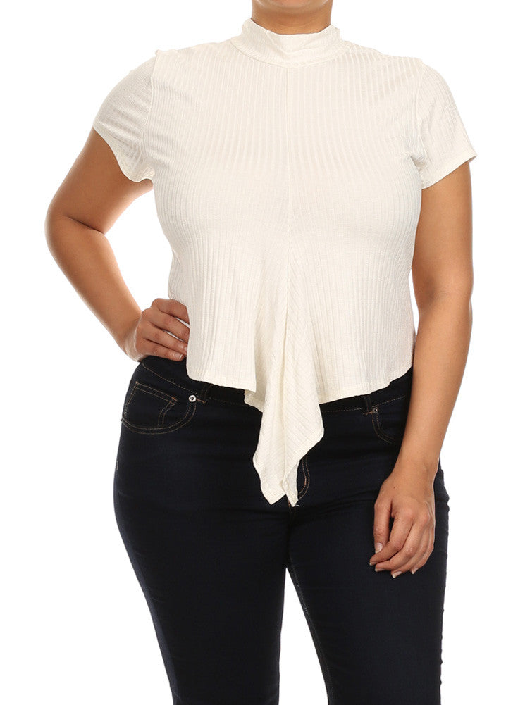 Plus Size Adorable Knot White Ribbed Crop Top