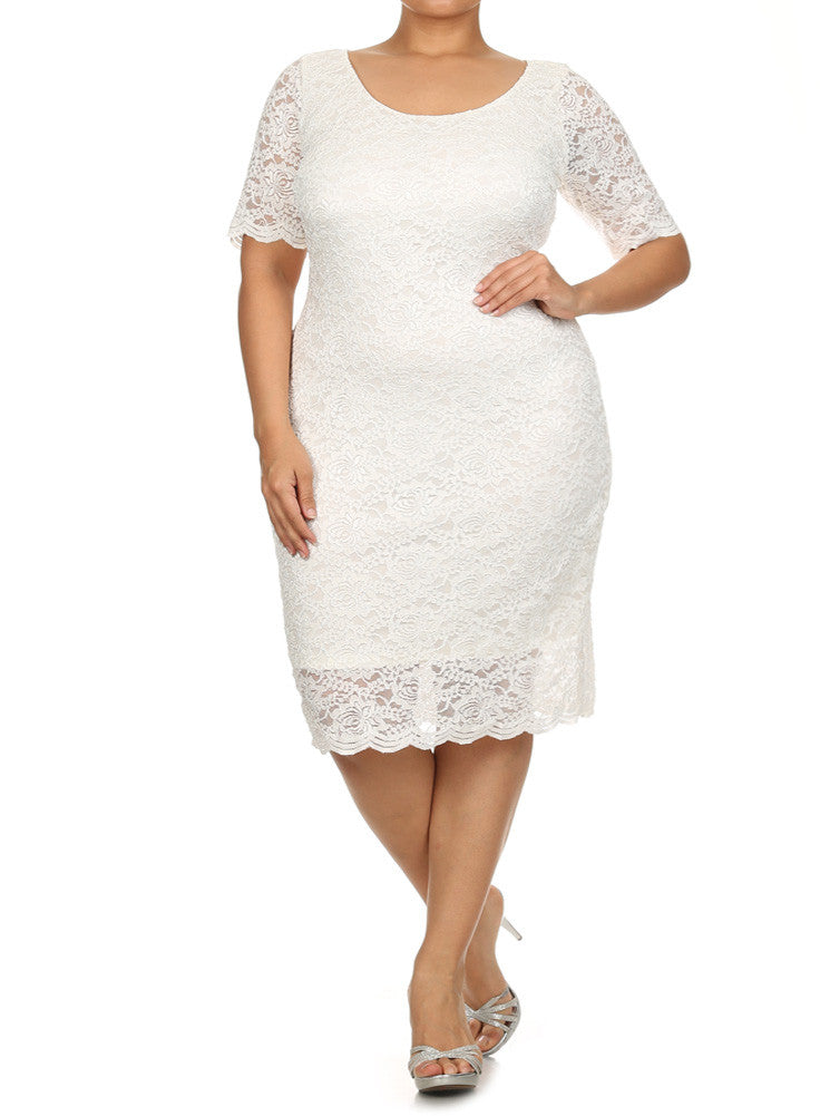 Plus Size Garden Party Lace White Dress