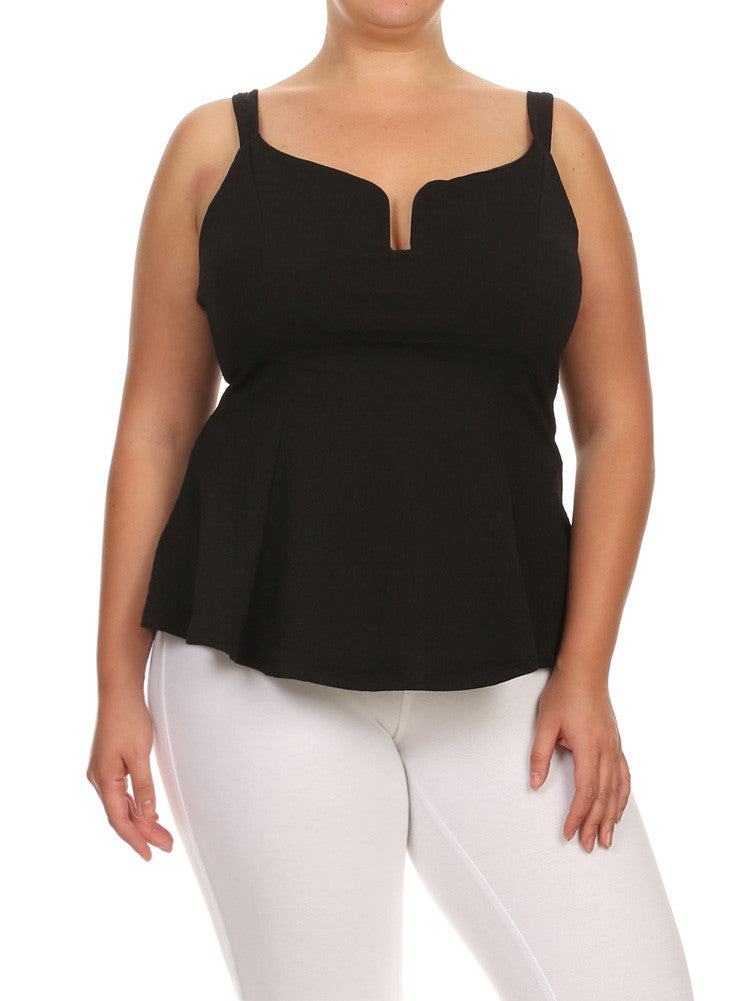 Plus Size Darling Textured Flared Black Top