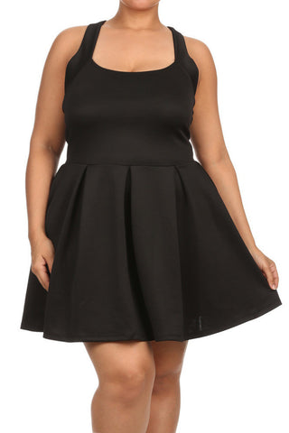 Plus Size Flare Game Crossed Back Black Dress