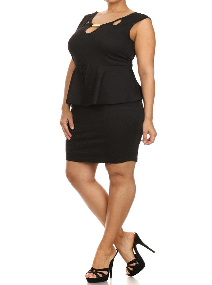 Plus Size Glamorous Wave Pattern Peplum Black Dress