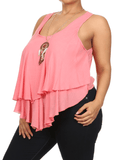 Plus Size Flowy Dream Catcher Necklace Pink Top