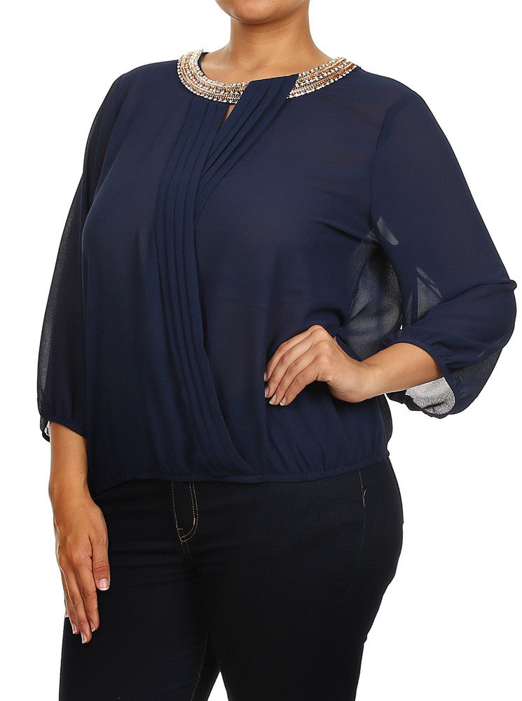 Plus Size Embellished Cross Over Sheer Blue Top