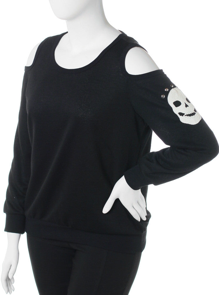 Plus Size Open Shoulder Skull Patch Knit Black Top