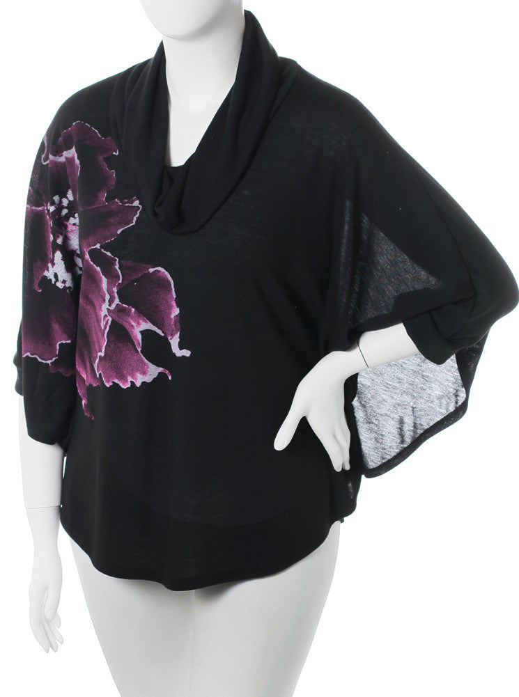 Plus Size Butterfly Sleeve Flower Black Top