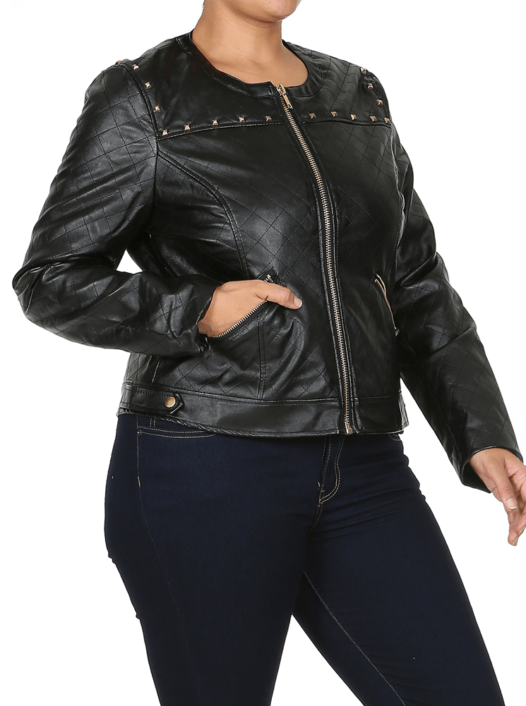 Plus Size Night Rider Black Quilted Leather Jacket
