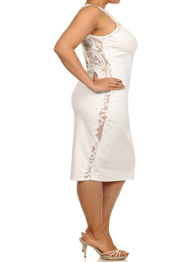 Plus Size Graceful Victorian Print Mesh White Midi Dress