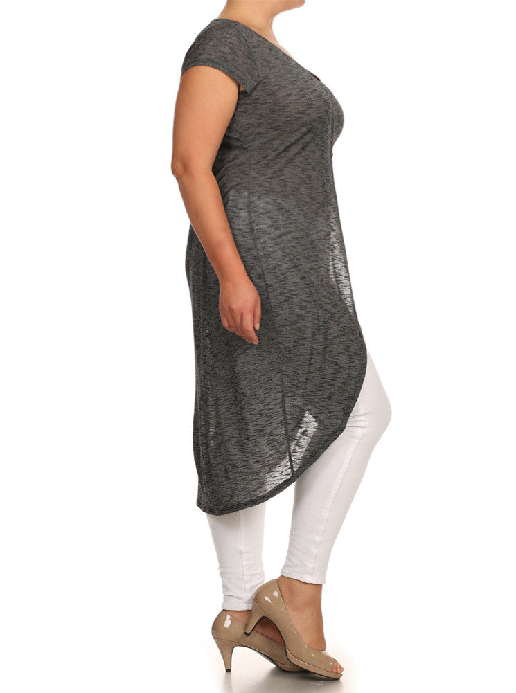 Plus Size Chic Knit Buttoned Grey Maxi Top