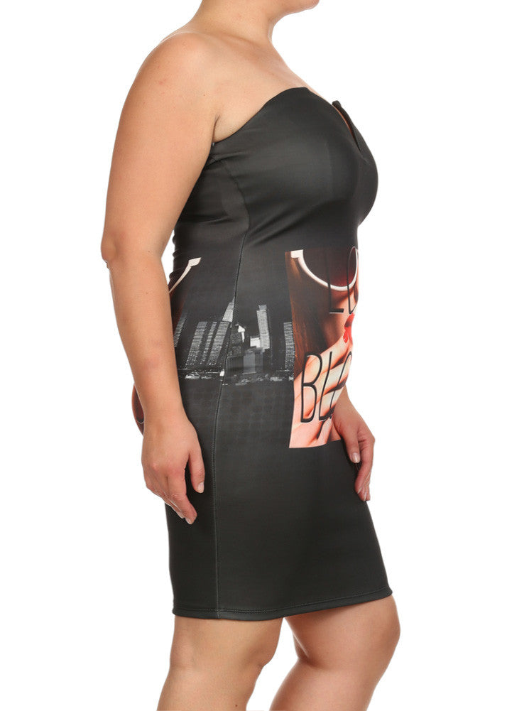 Plus Size Love Blows Graphic Print Dress