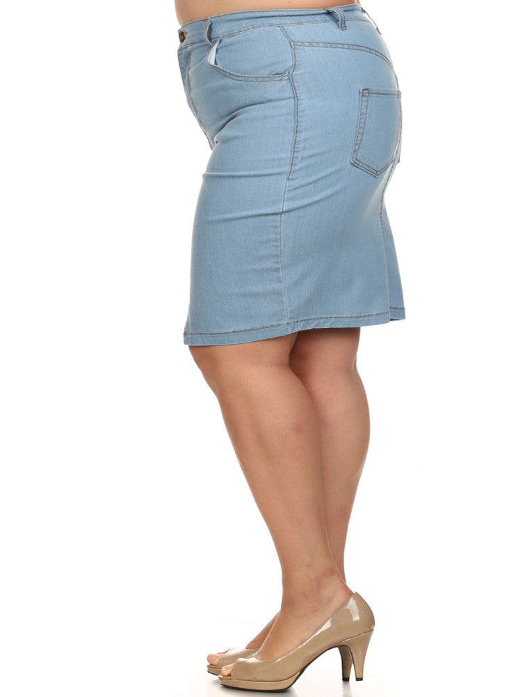 Plus Size Heavens Jagged Hemline Denim Skirt