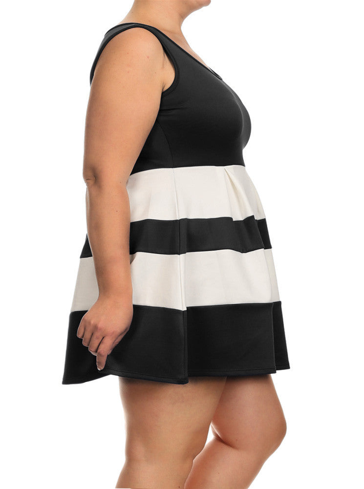 Plus Size Adorable Stripe Black Dress