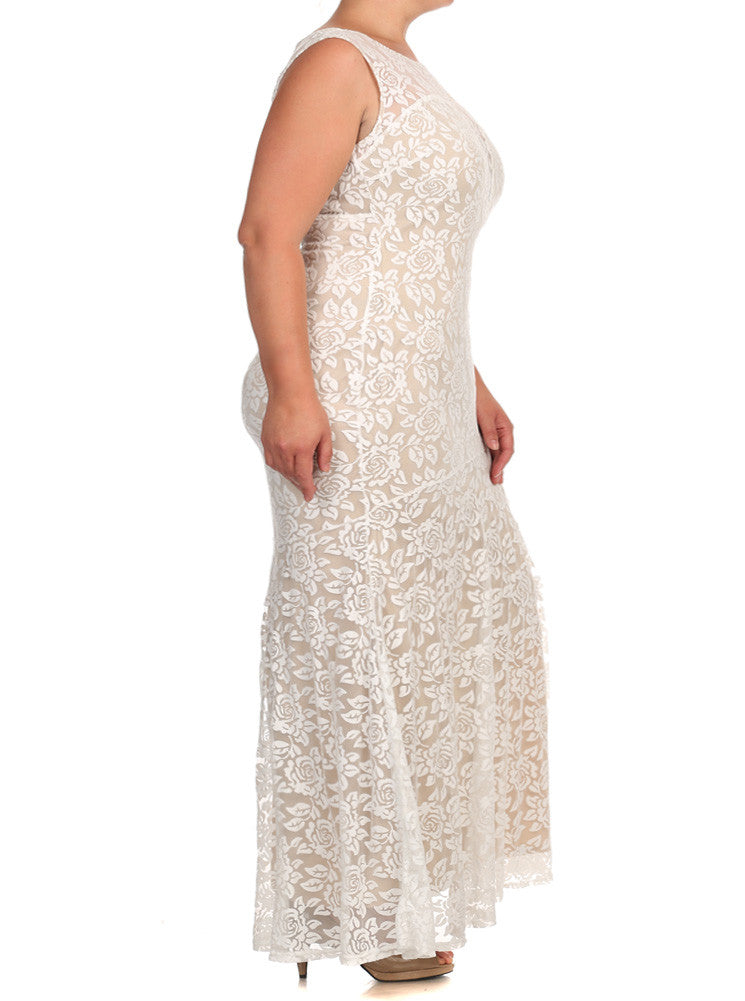 Plus Size Kissed By A Rose Fish Tail Rose Maxi Ivory Dress