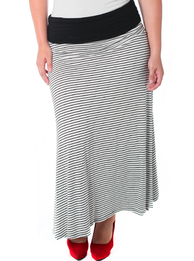 Plus Size Sexy Striped White Maxi Skirt