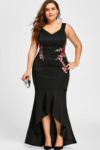 Plus Size Embroidered Rose Mermaid Cocktail Dress