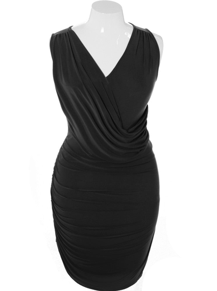Plus Size Silky Draped Black Dress