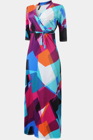 Plus Size Surplice Abstract Geometric Print Maxi Dress