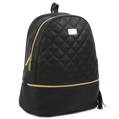 Quilted Faux Leather Backpack Black
