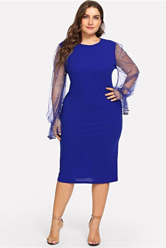 Plus Size Pearl Beaded Mesh Ruffle Sleeve Bodycon Dress