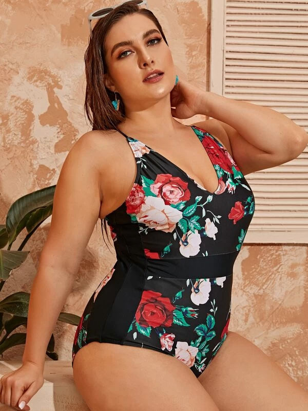 Plus Size Floral Print Halter One Piece Swimwear