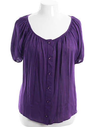 Plus Size Adorable Gathered Button Down Purple Top