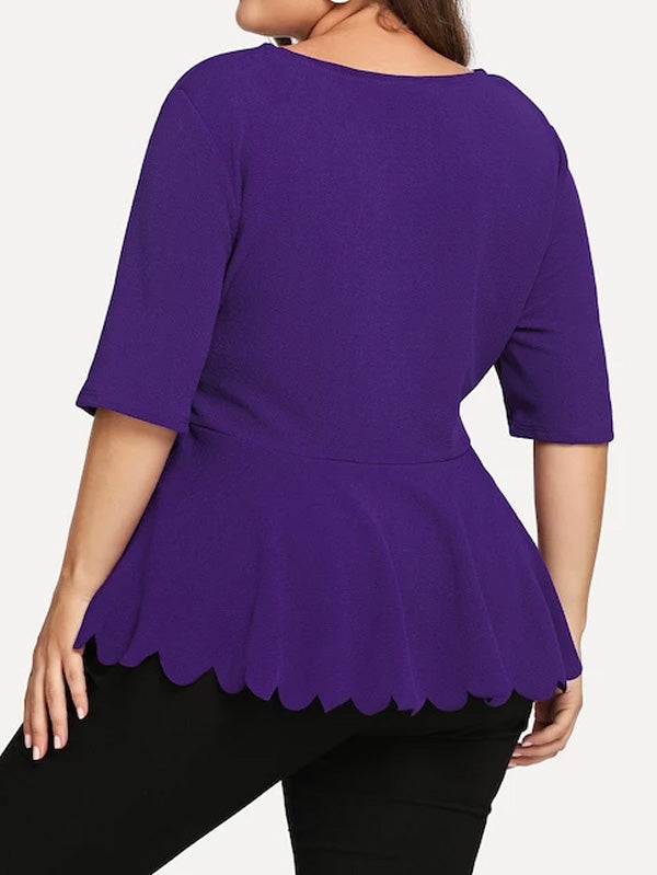 Plus Size Laser Cut Insert Scalloped Peplum Blouse