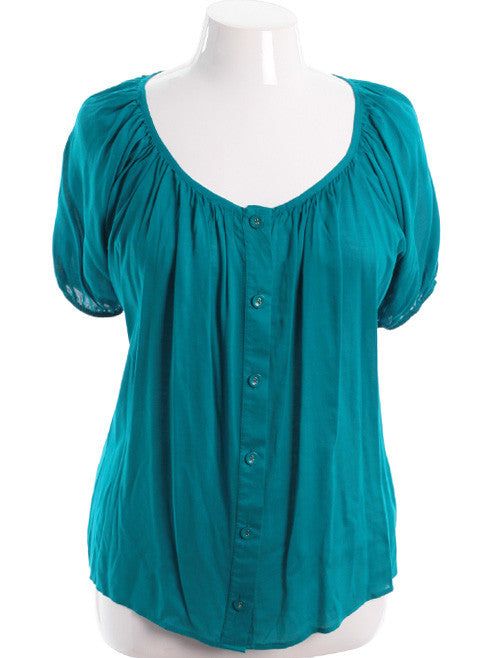 Plus Size Adorable Gathered Button Down Teal Top
