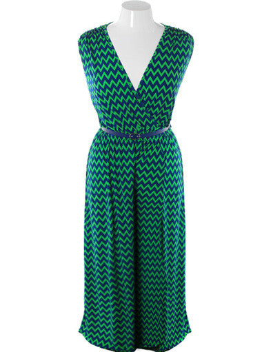Plus Size Sexy Loose Sleeveless Green Jumpsuit