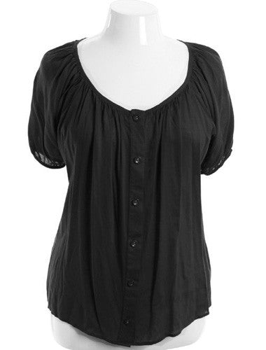 Plus Size Adorable Gathered Button Down Black Top