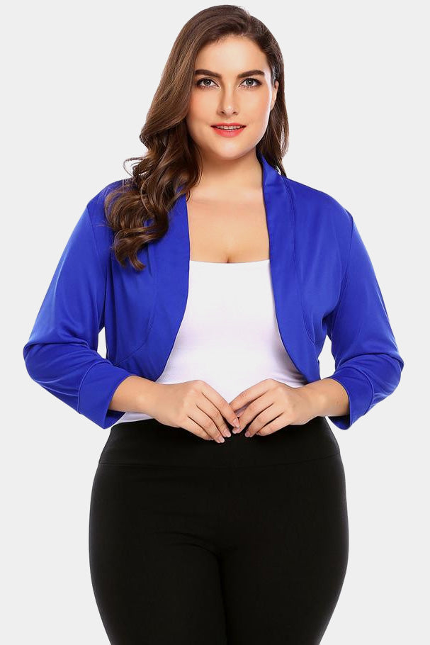Plus Size Classic Shrug 3/4 Sleeve Sweater Cardigan Top