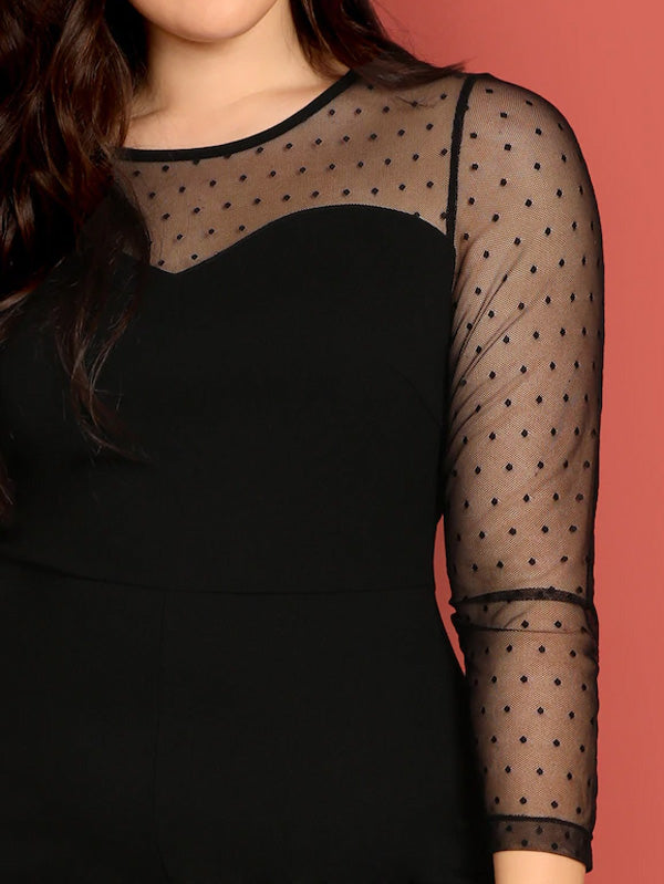 Plus Size Mesh Yoke Sweetheart Fitted Jumpsuit