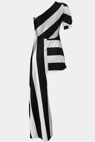 Plus Size Sleek Bold Striped Asymmetrical Peplum Top
