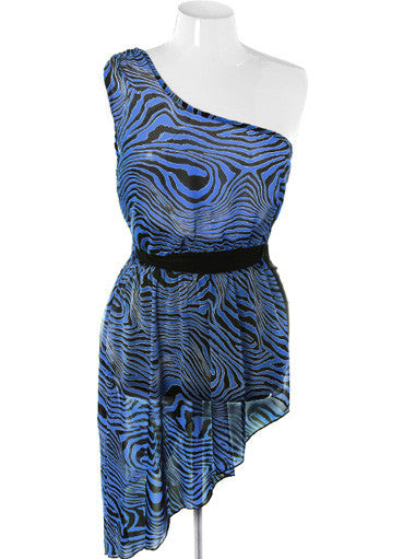 Plus Size Sexy Layered One Shoulder Blue Dress