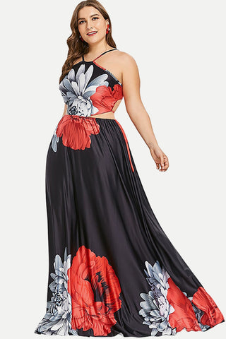 Plus Size Halter Sexy Backless Floor Length Dress