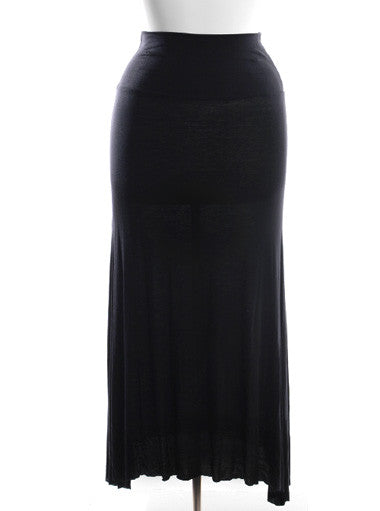 Plus Size Stretchy Hugging Floor Length Black Skirt Dress