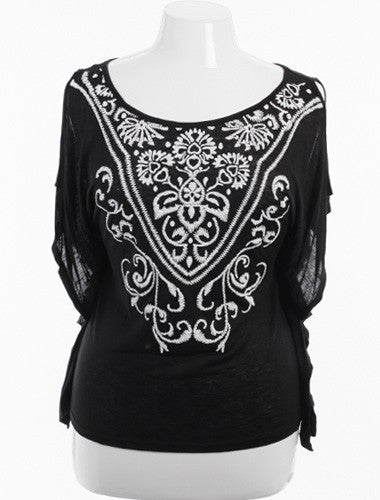 Plus Size Sexy Open Shoulder Embroidered Black Top